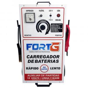 Carregador de Bateria 50A 110/220V com Auxiliar de Partidas • FORTG-1