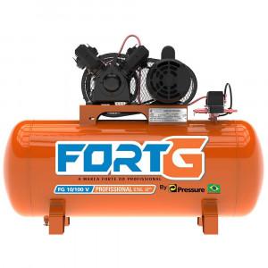 Compressor de Ar Mono 2HP 10 Pés 100 Litros Bivolt • FG.T001