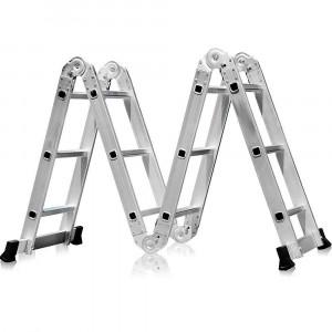 Escada Multifuncional 4x3 em Aço e Alumínio 12 Degraus • FG8435